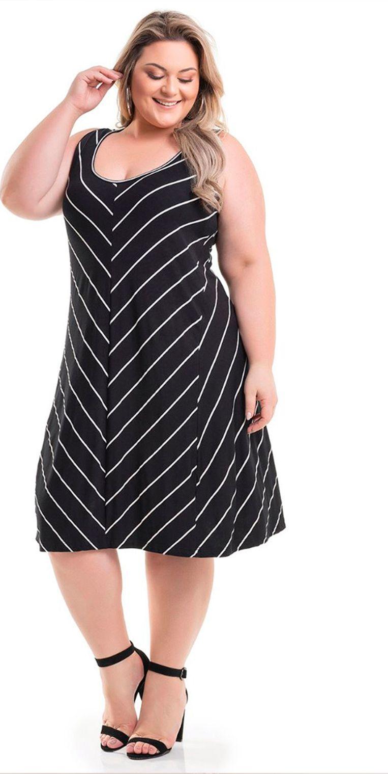 7745833cc6 Vestido Viscolycra Preto Listrado Miss Masy Plus Size.  modaplussize   roupasplussize  roupasfemininas