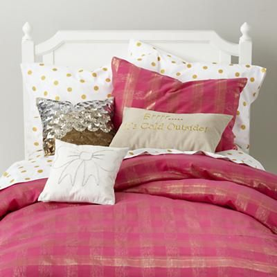 BOTTOM bunk!!  Girls Bedding: Pink and Gold Shimmer Bedding in Girl Bedding