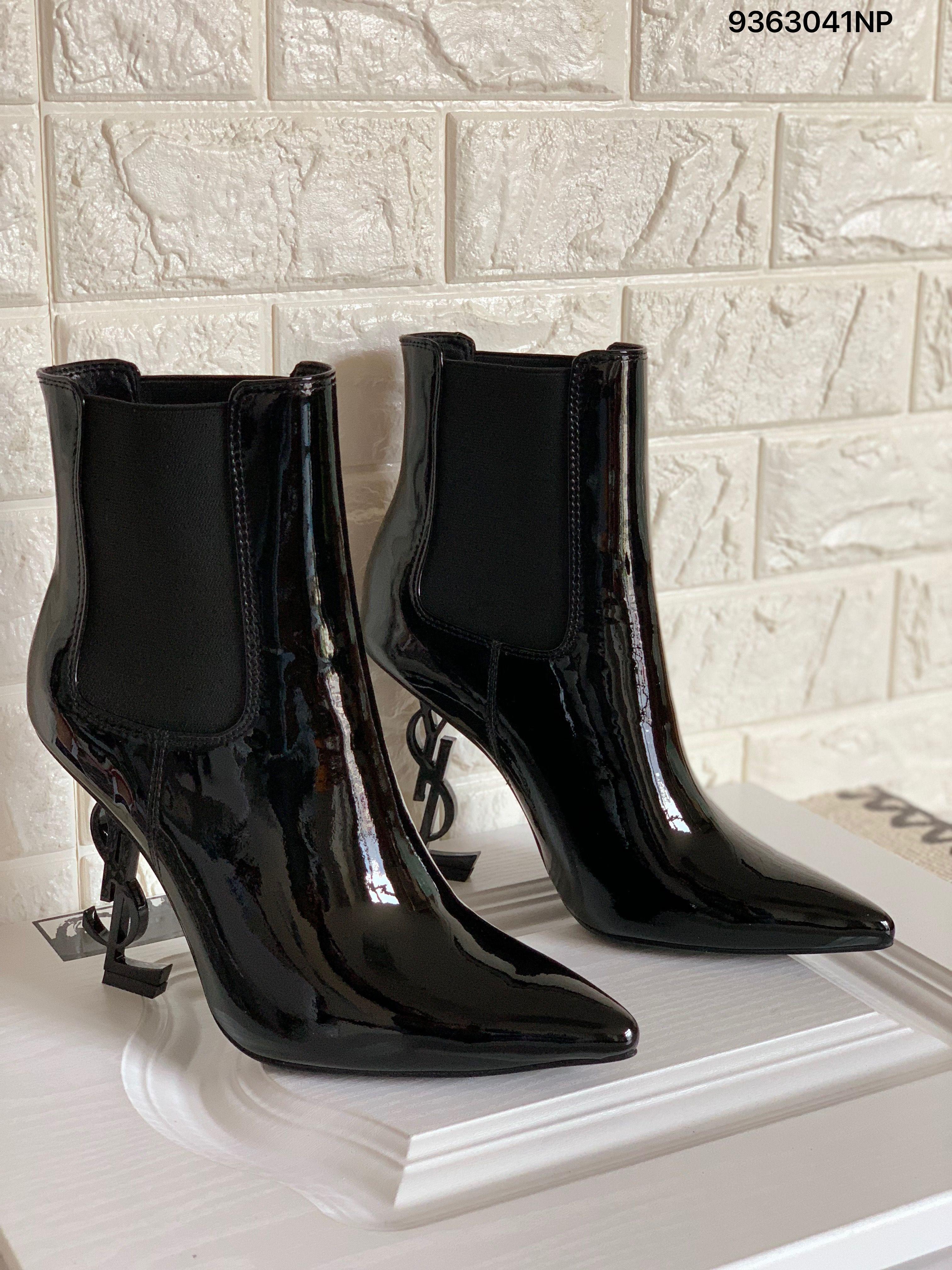 507b786cd9f Ysl Saint Laurent letters heels ankle boots shiny patent leather black