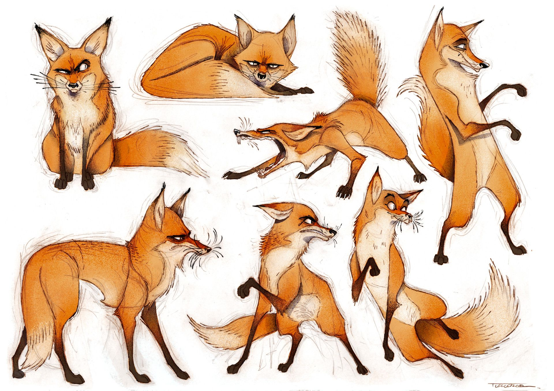 These foxy characters by Thibault LECLERCQ are pretty darned fantastic :-) #foxes #art