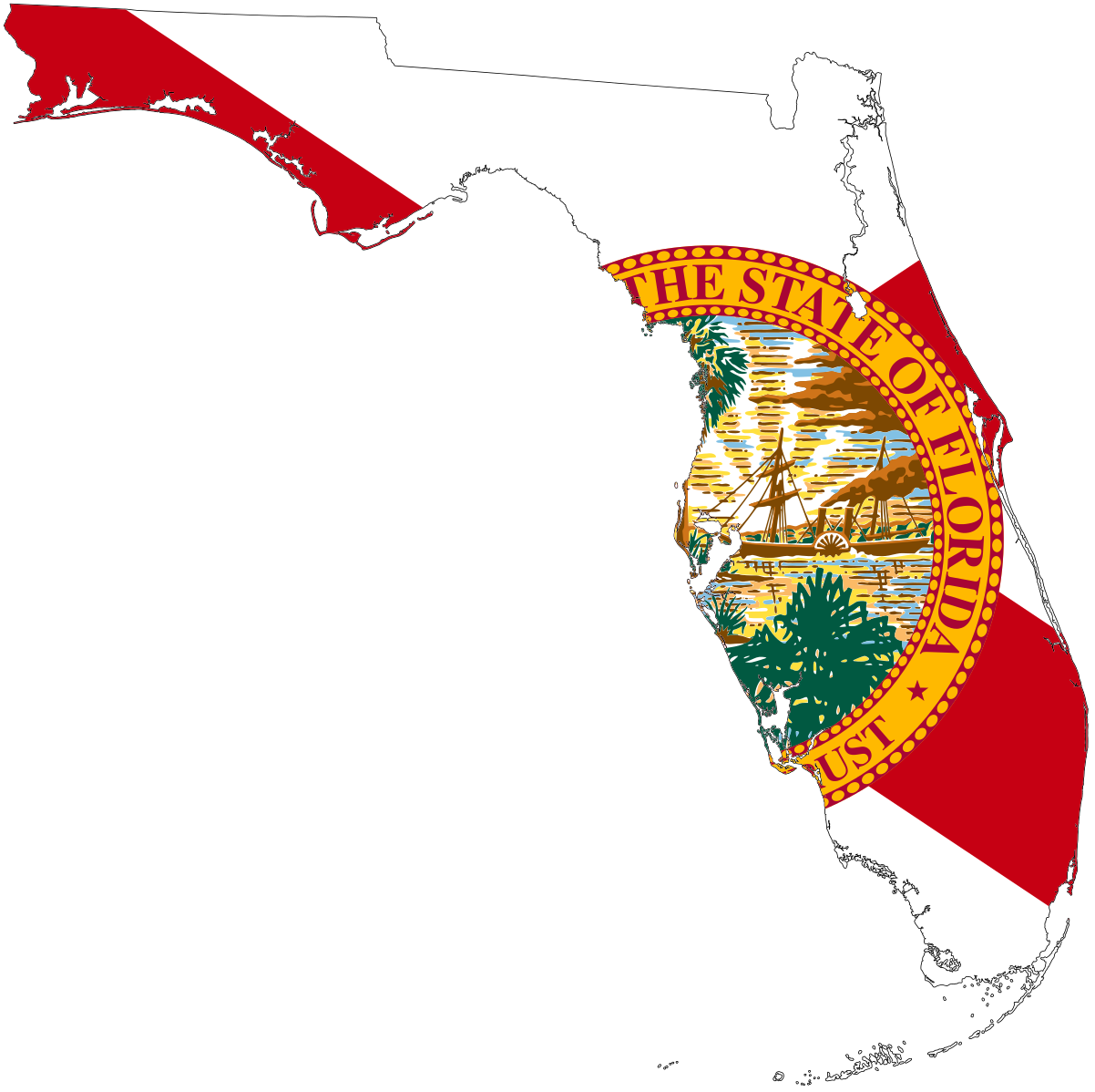 Flagmap Of Florida With Images Map Of Florida Florida State