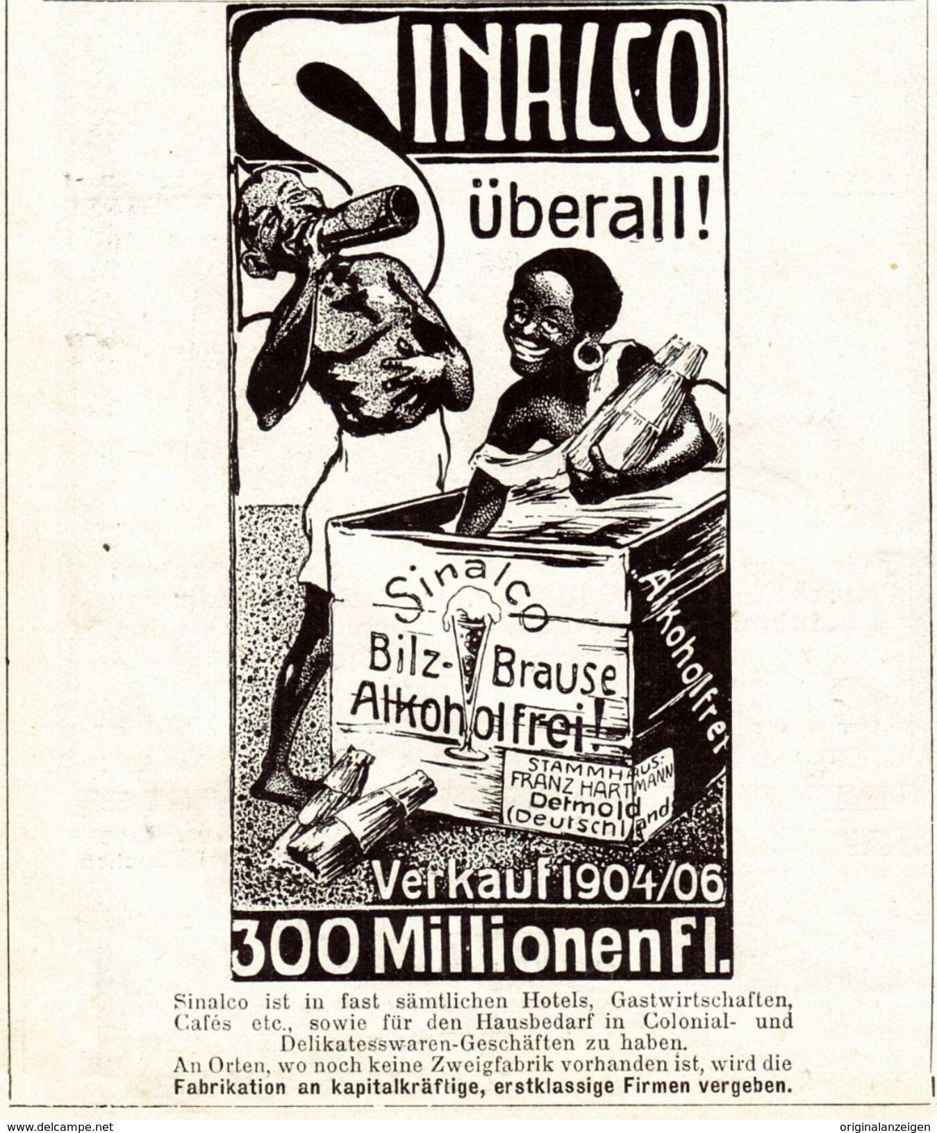 Original-Werbung/Anzeige 1907 - SINALCO / FRANZ HARTMANN - DETMOLD ...