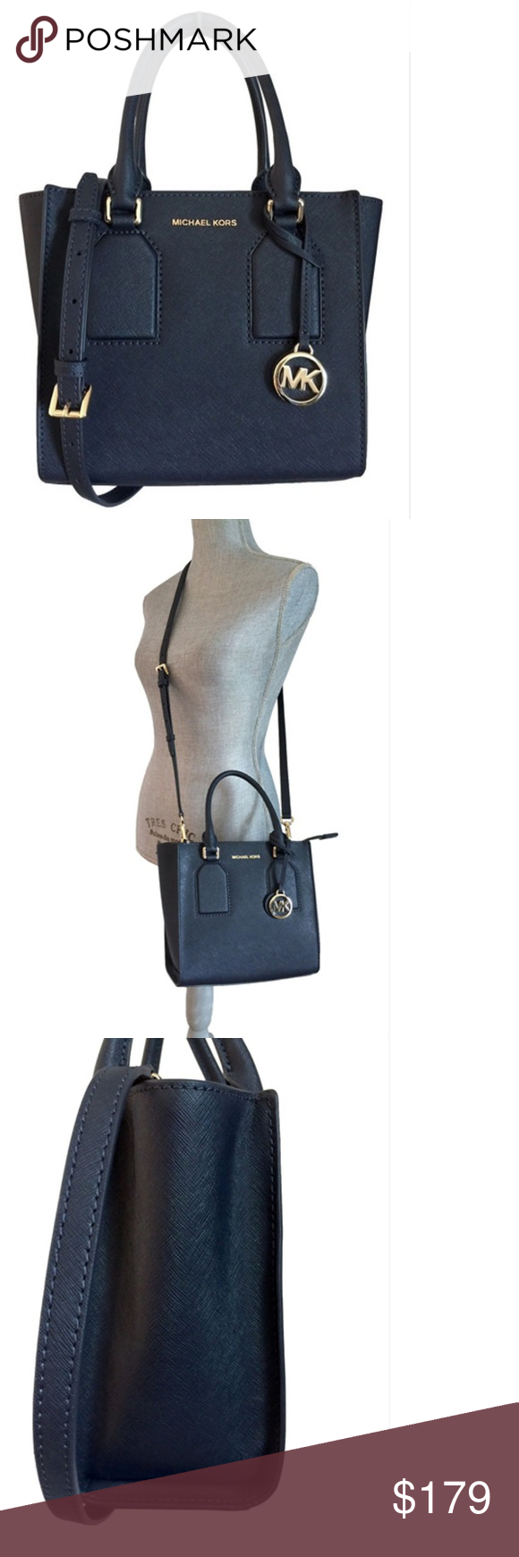 7719c69b75 MICHAEL Kors Selby Saffiano Leather Crossbody Navy Michael Kors Selby  Messenger - No Trades  Size