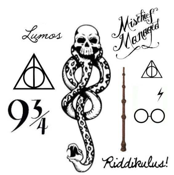 Set Of Harry Potter Temporary Tattoos Todesser Tattoo Harry Potter Tumblr Harry Potter Tattoos