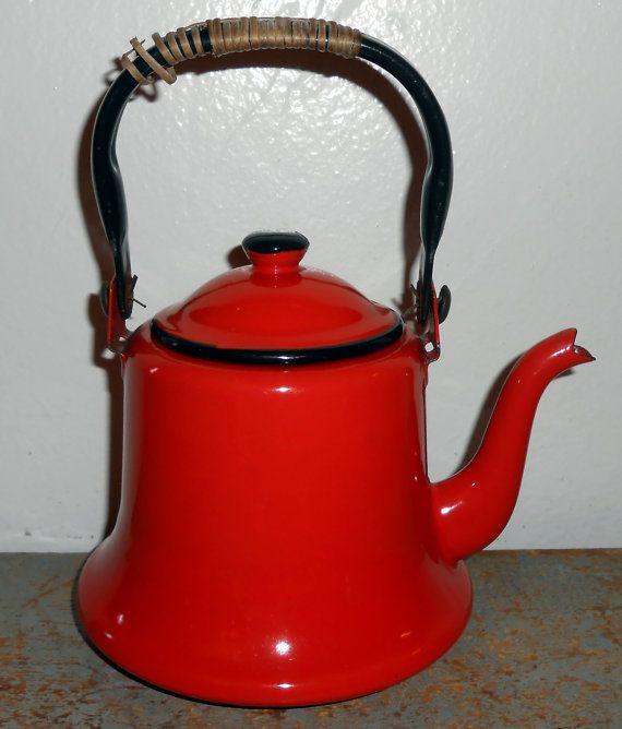 Vintage Tea Kettle, Orange, Enamel Ware,  Kitschy, Orange and Black on Etsy, $21.00