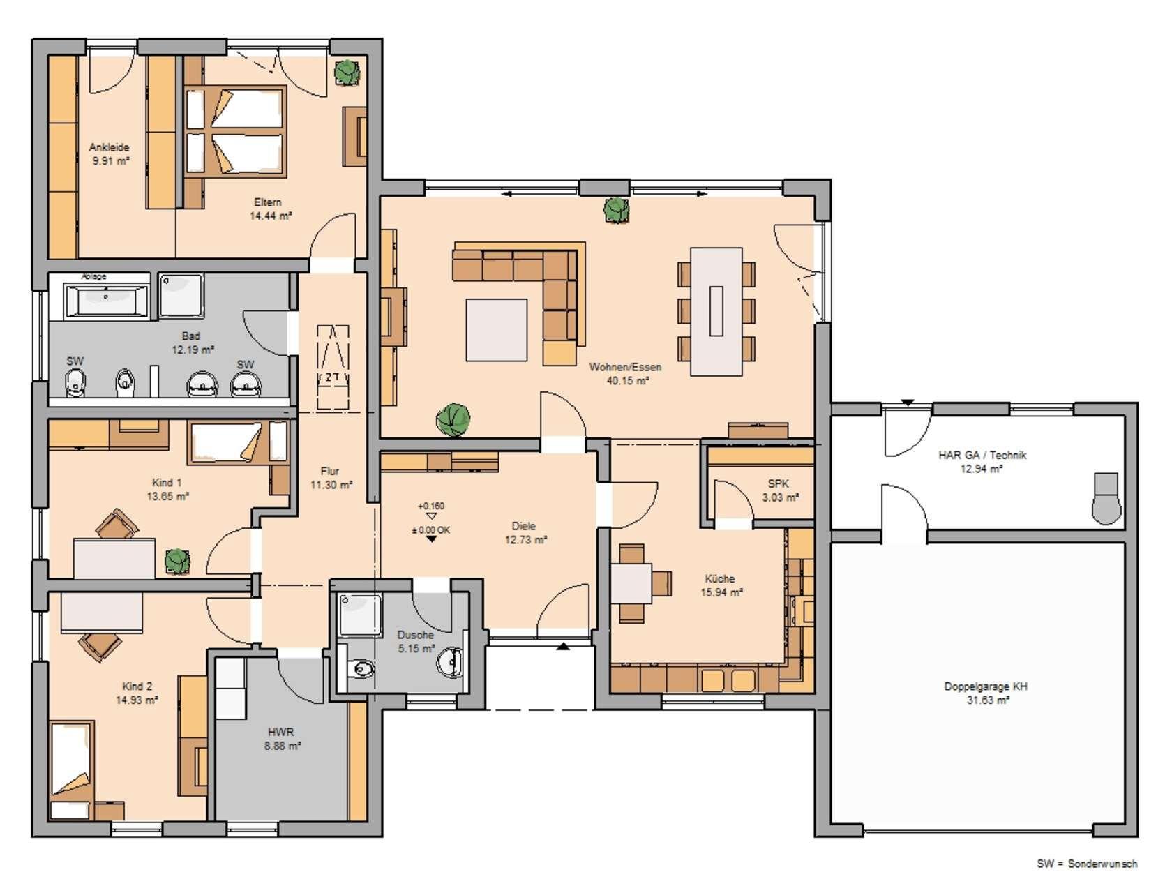 Bungalows Haus bungalow, Grundriss bungalow und Bauplan haus