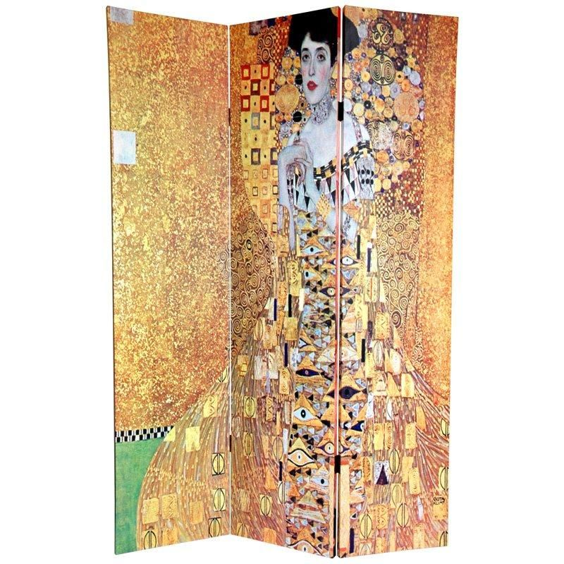 6 ft. Tall Double Sided Works of Klimt Room Divider - Block Bauer/Three Ages of Woman - OrientalFurniture.com
