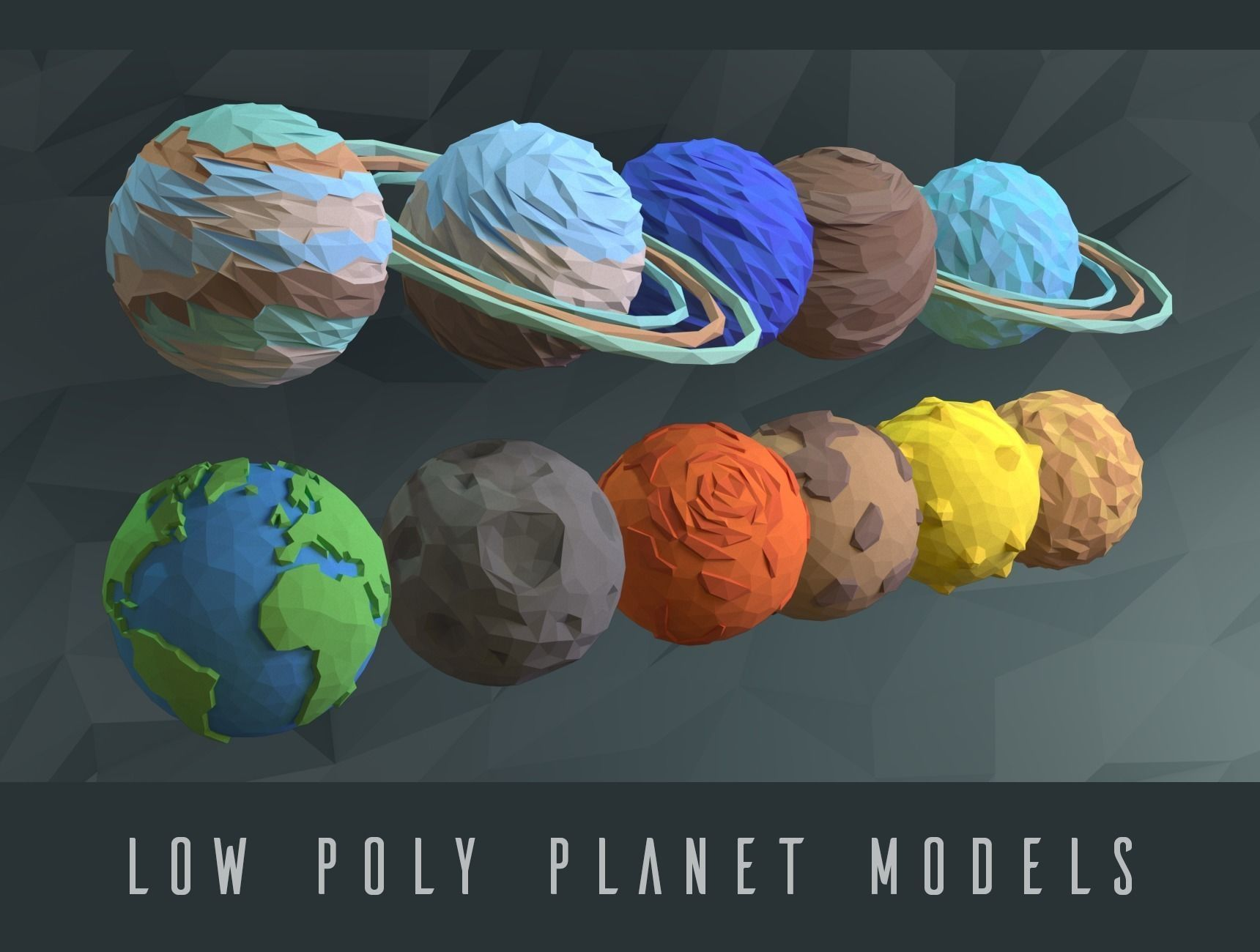 low poly planets 3d model low-poly max obj 3ds fbx stl mtl 1