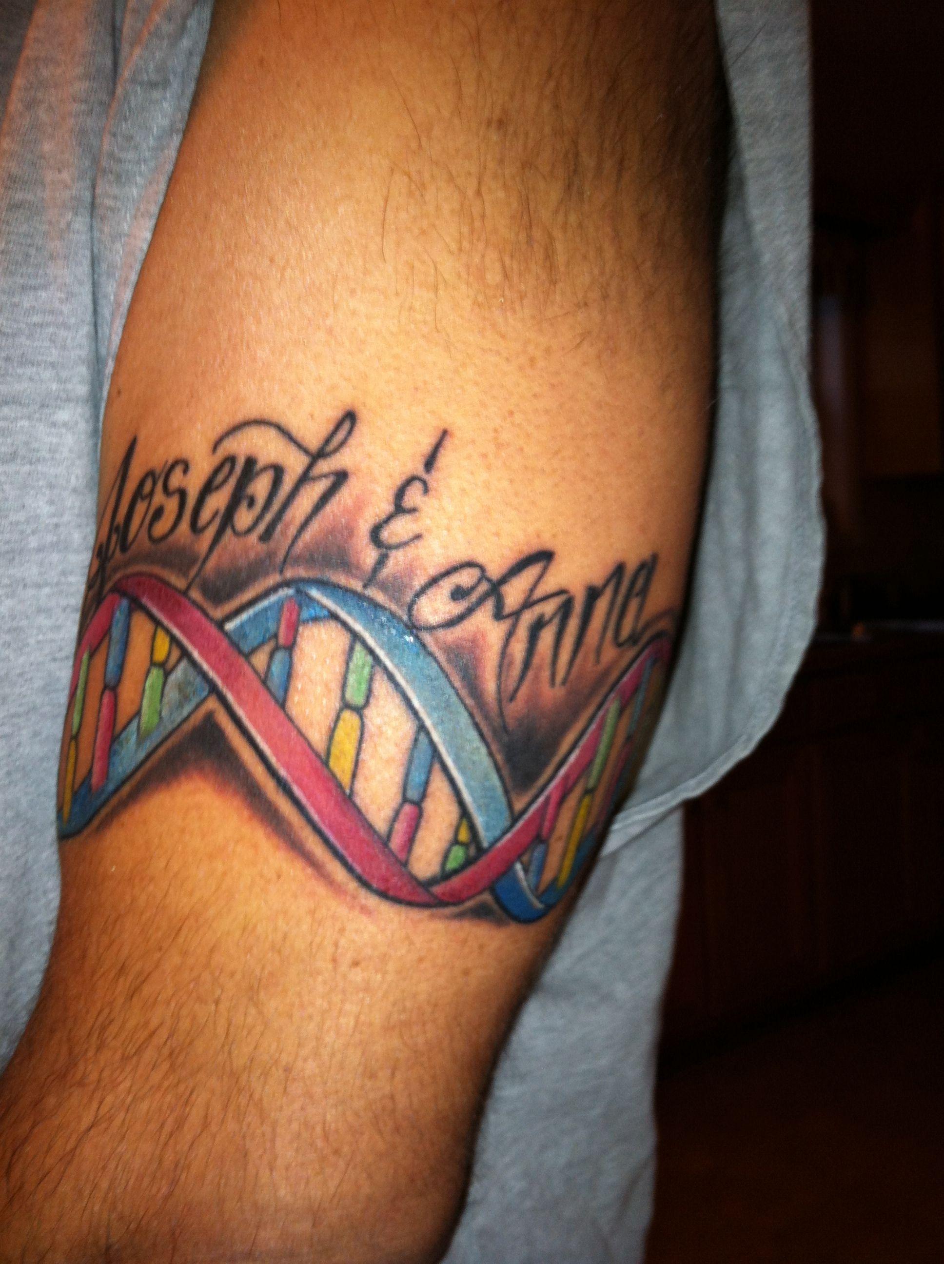 Dna Armband Tattoo With My Kids Name Arm Tattoo Tattoos Arm Band Tattoo