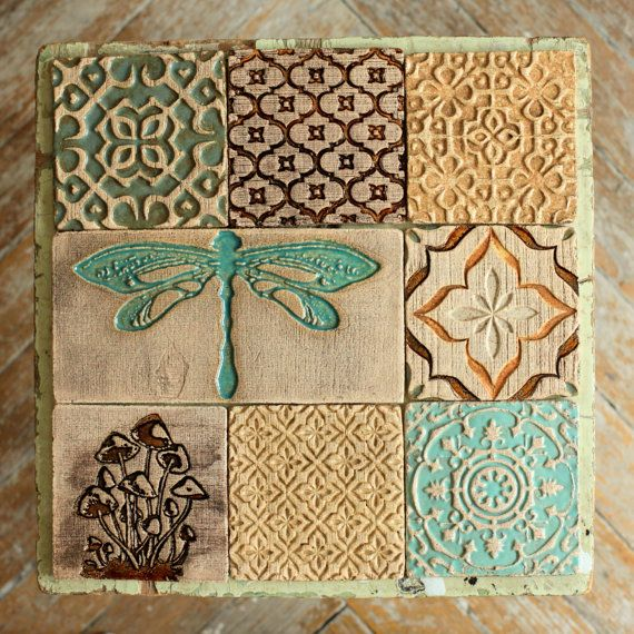 Kitchen Herbarium Art: Dragonfly&Mushroom Ceramic Rustic Tile Set Of 9 For