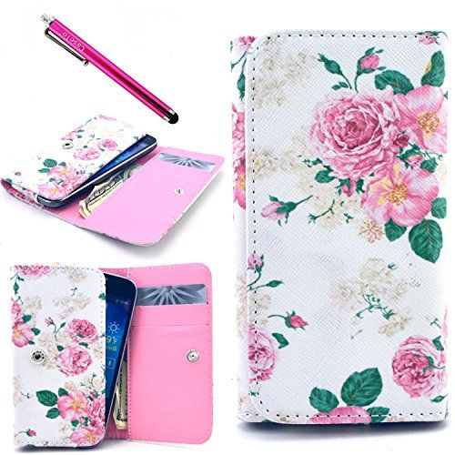 S5 Case, Jcmax Elegant Floral Design White PU Leather Wallet Purse Case with Credit Card Slots and Pocket For Cash For Samsung Galaxy S5 [Rose]