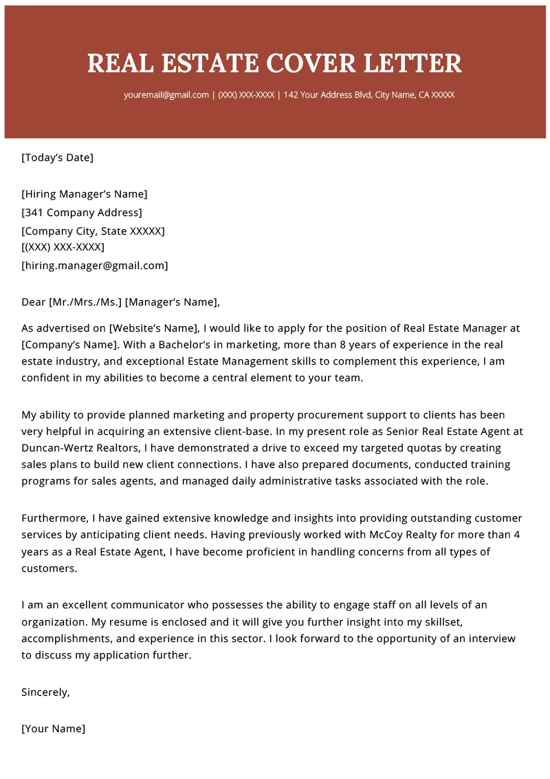 real estate agent cover letter example