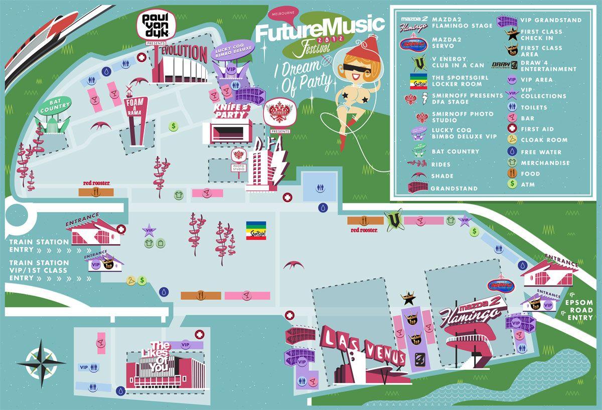 Future Music Festival 2012 Melbourne Timetable, Map