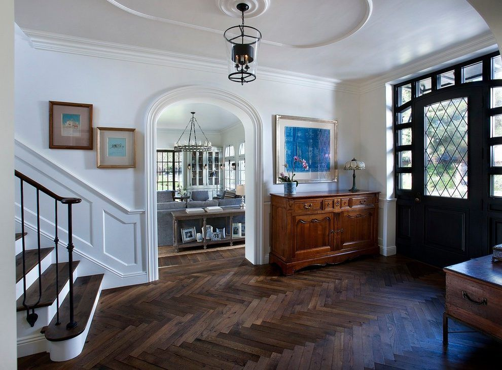 Herringbone Parquet Wood Floor Entry Traditional With Front Entrance