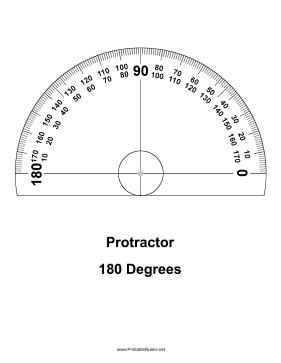 Great As A Drawing Tool This Printable Protractor Can Make Great Half Circle Markings With 180 Degrees Free To Do Protractor Drawing Tools Lettering Practice