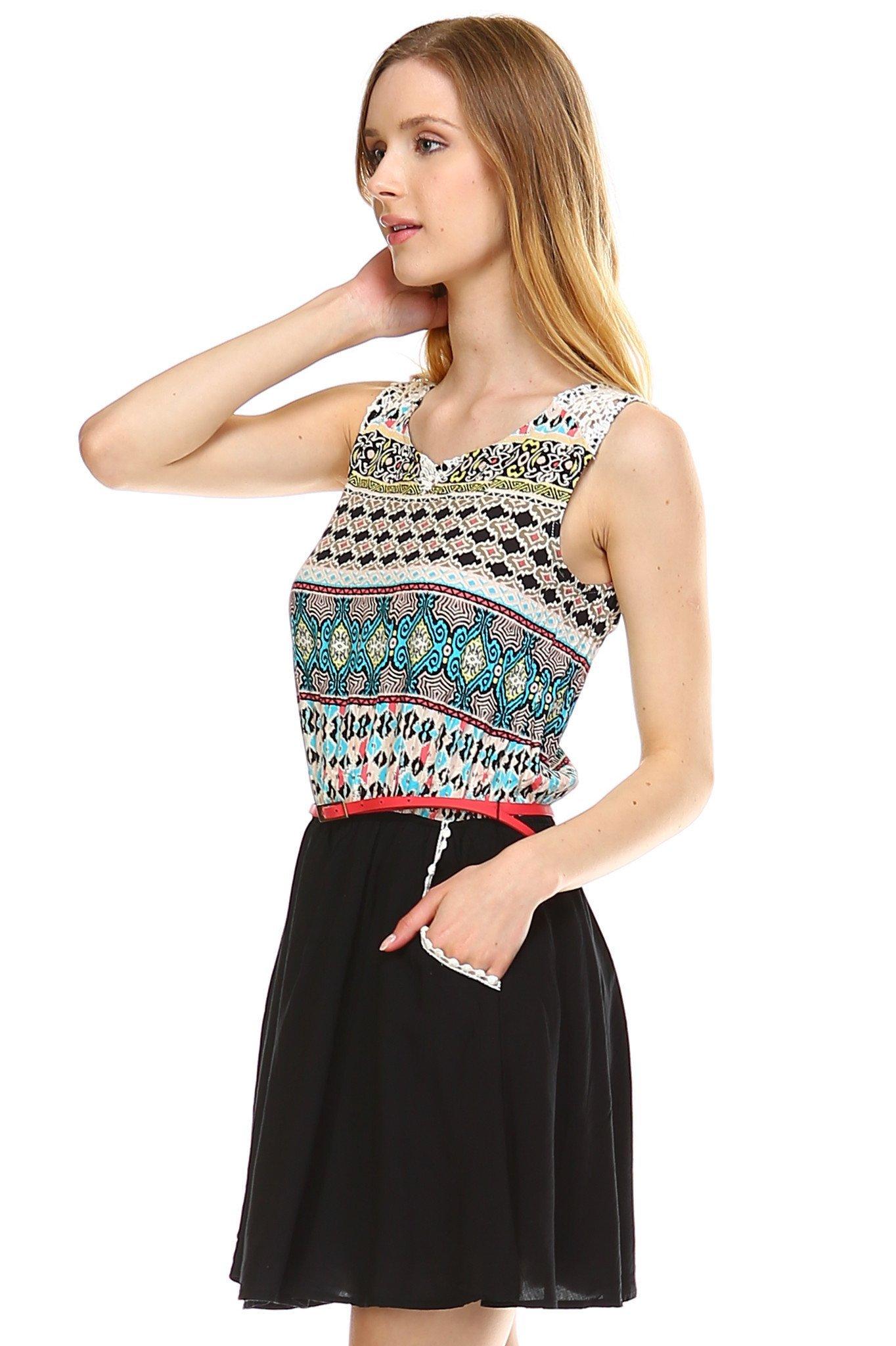 Women S Crochet Detail Belted Sleeveless Dress Clothes Dresses