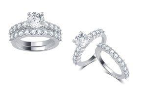 Groupon 3 00 Cttw Diamond Bridal Ring Set In 14k Gold Groupon Deal Price 2 299 Diamond Bridal Ring Sets Bridal Ring Set Rings