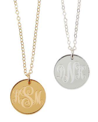 Moon & Lola Providence Mirrored Acrylic Reverse Monogram Pendant Necklace NlmYfRqH