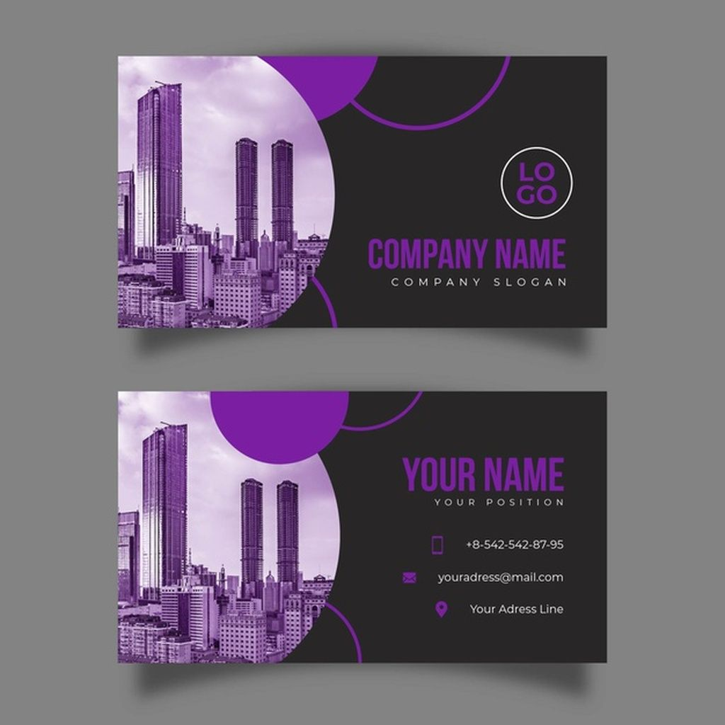Abstract Business Card Template With Photo Paid Ad