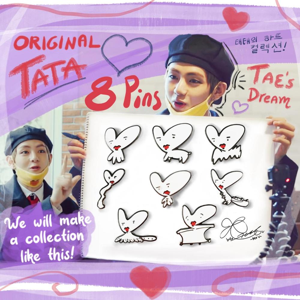 8 BTS Pin Set Original TATA BT21 Taehyung Drawings Enamel | Etsy