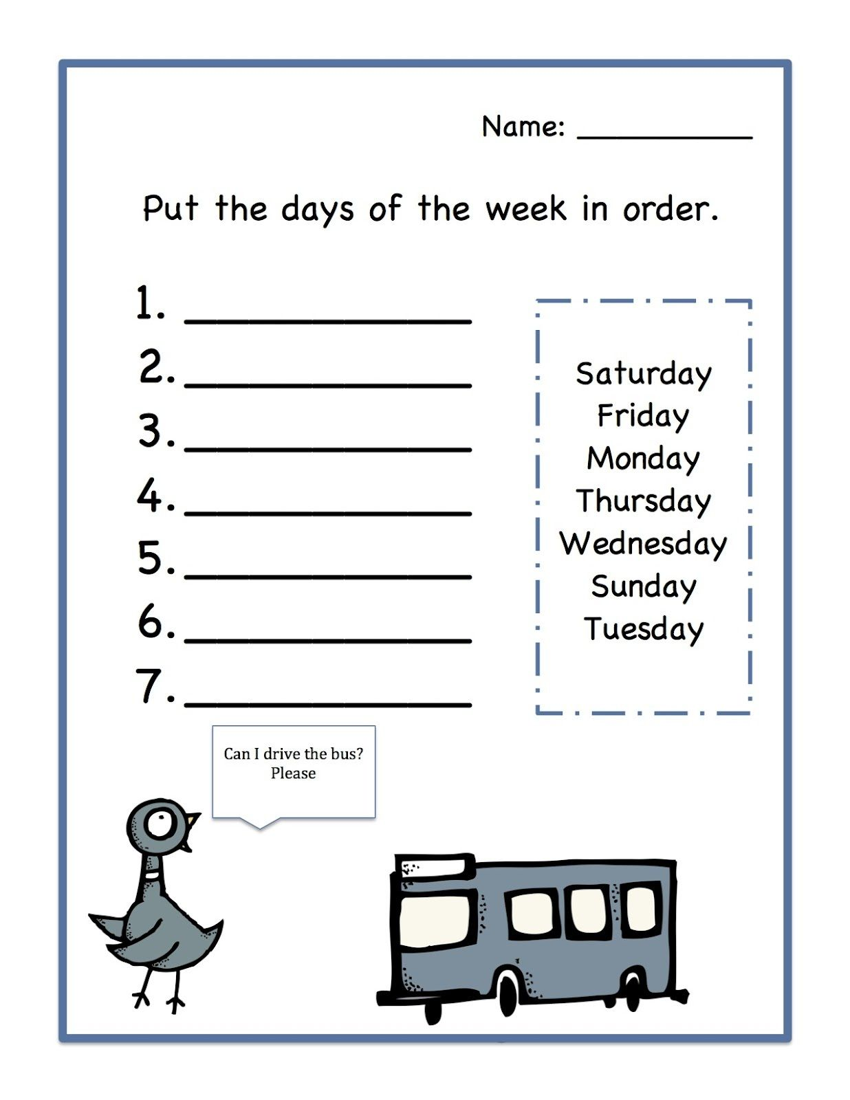 Day Of The Week Worksheet