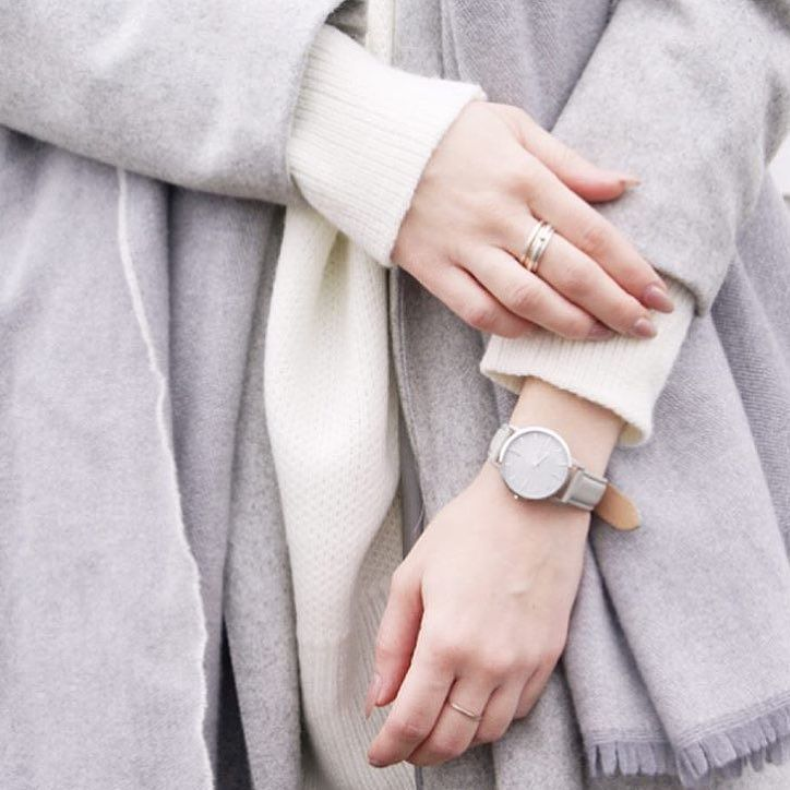 Grey tones from a recent @mesmerize_fashion shoot | #regram #freedomtoexist #fte3005 grey leather strap & silver case | #fashionblogger #minimalstyle #petitefashion #monochrome