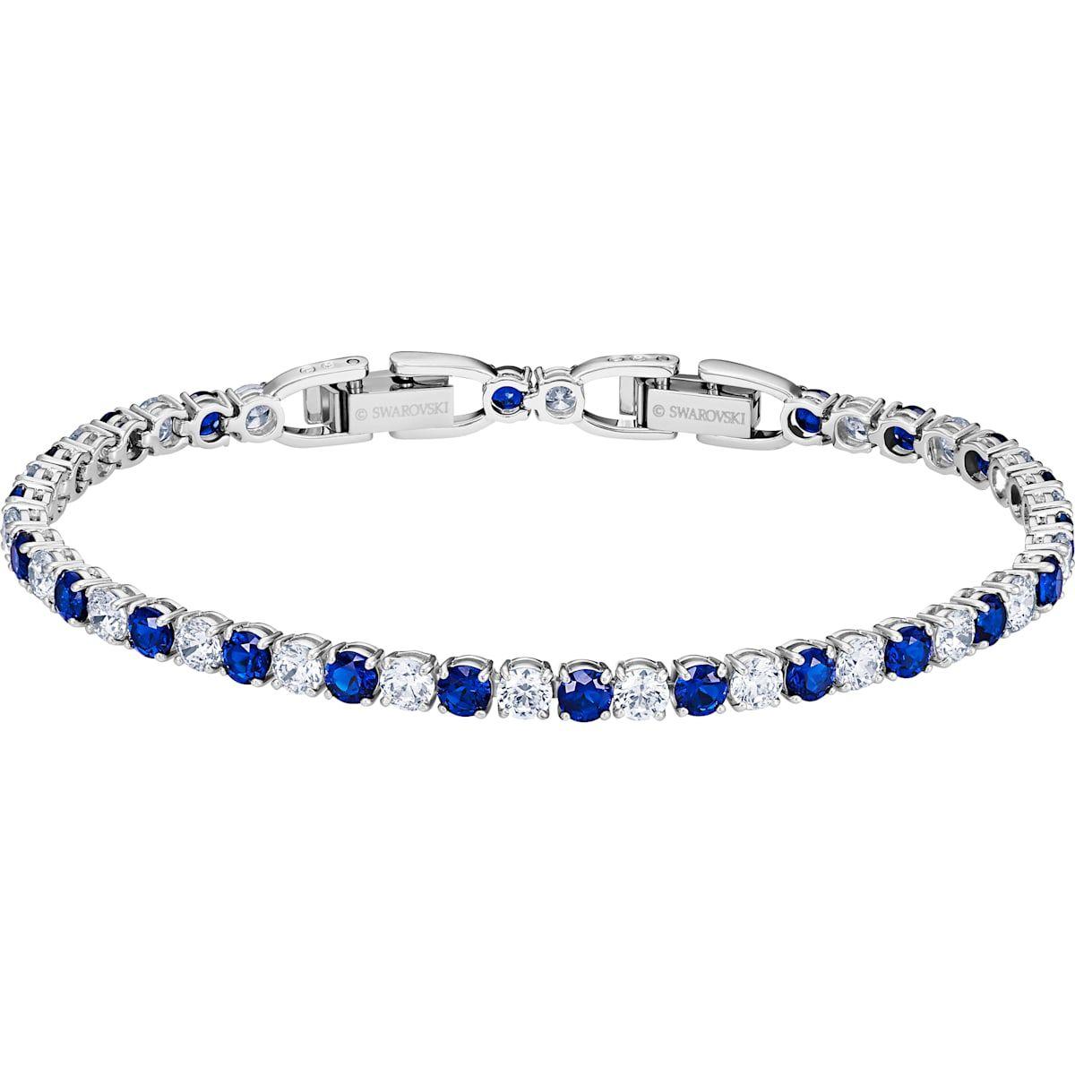 Tennis Deluxe Bracelet Blue Rhodium Plated By Swarovski Crystal Bracelets Gemstone Stud Earrings Gemstone Studs