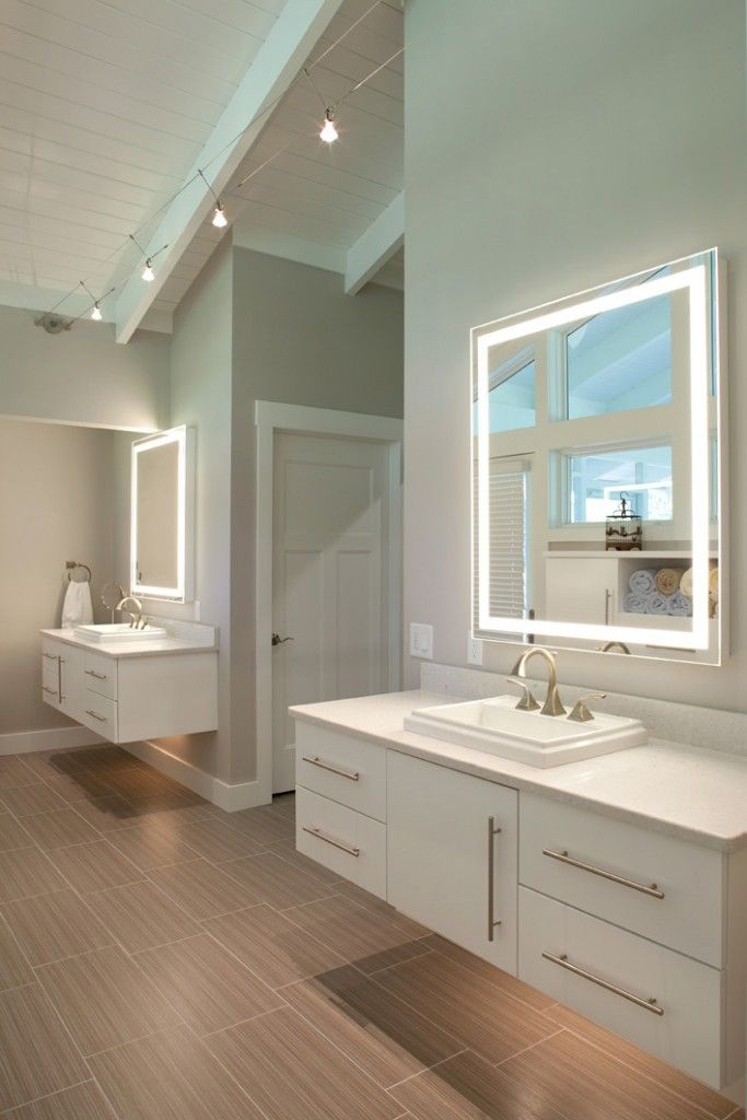 Dual Vanities In Master Bathroom With Lighting Underneath