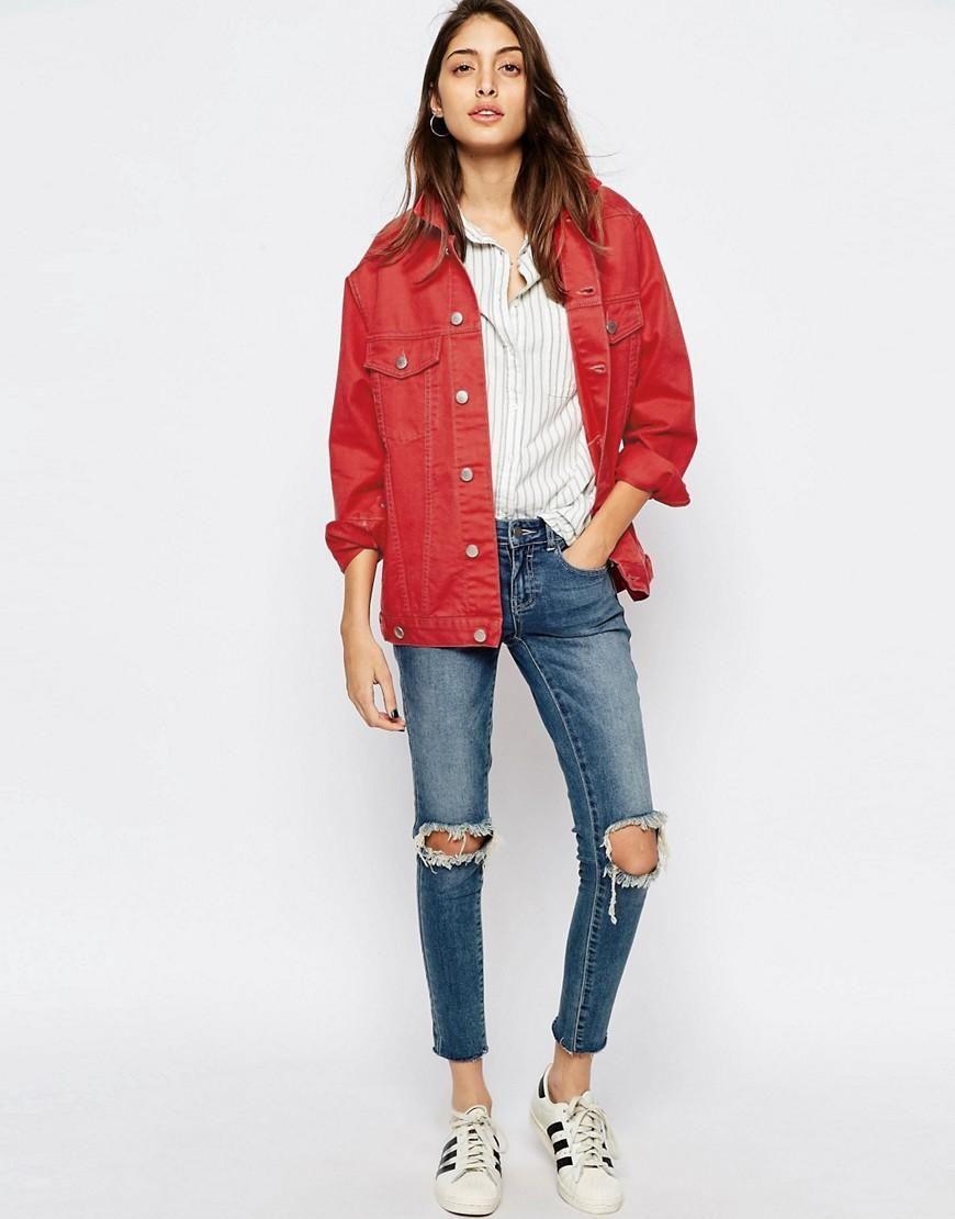 tout neuf b7121 d2bf8 ASOS | ASOS - Veste girlfriend en jean - Rouge délavé chez ...