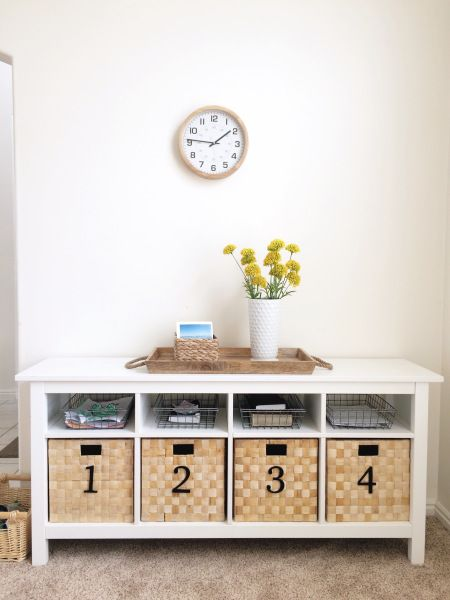 Using Ikea Hemnes Sofa Table To Organize Kids School Papers And Shoes