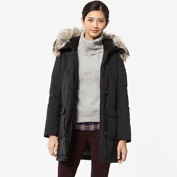 women warm tech down military coat uniqlo other long. Black Bedroom Furniture Sets. Home Design Ideas