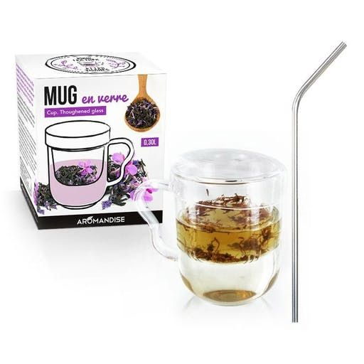 Mug À Thé Avec Poignée, Infuseur Et Couvercle Verre + 4 Pailles En Inox