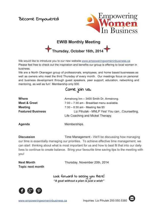 Thursday October 16th Empowering Women In Business Meeting www