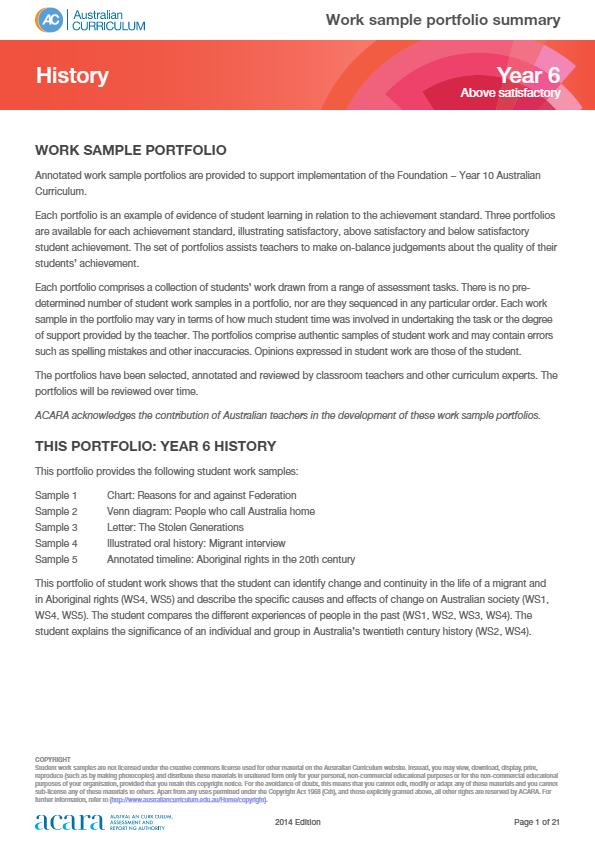 Year 6 History work sample portfolio - above satisfactory