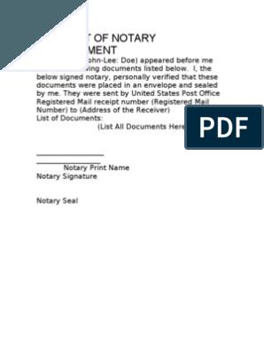 Affidavit Of Notary Presentment Template 10 03 08 Common Law Prejudice Coding