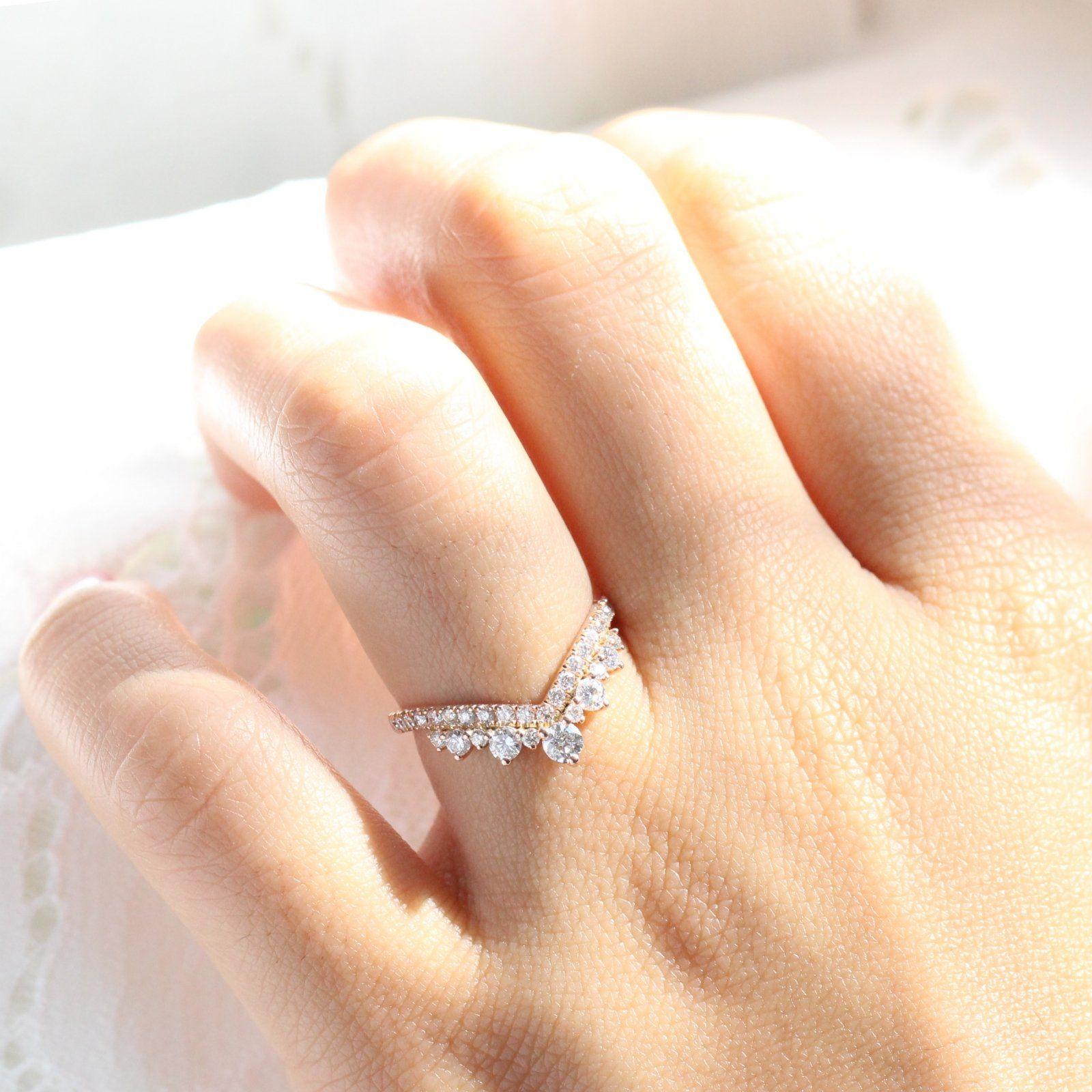 Large Tiara Diamond Ring In Rose Gold V Shaped Pave Band Large Diamond Band Pave Ring Band Curved Wedding Band
