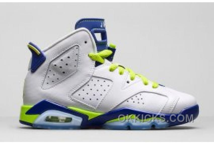 New Air Jordan 6 Retro Girl's White/Bright Grape-Deep Royal-Fierce Green  cheap sale online with fast delivery.