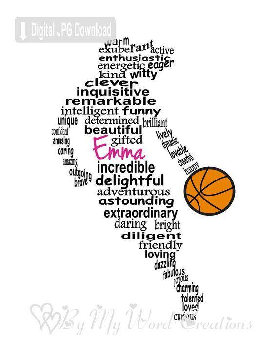 personalized girl basketball player digital word art basketball