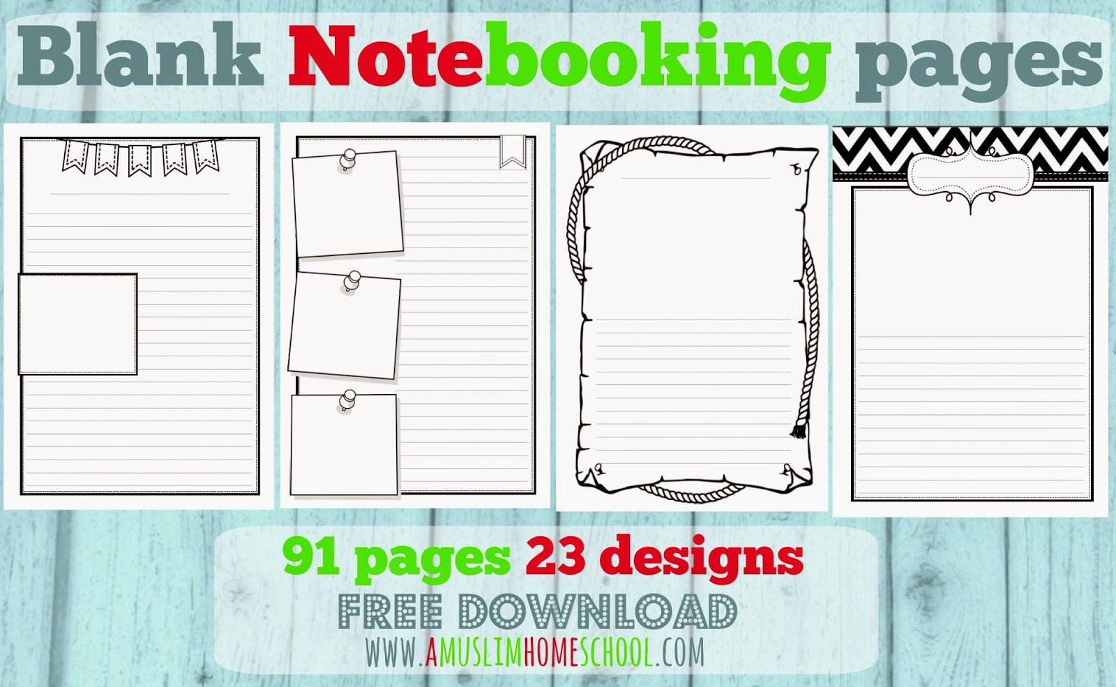 Free Blank #Notebooking Pages by A Muslim Homeschool