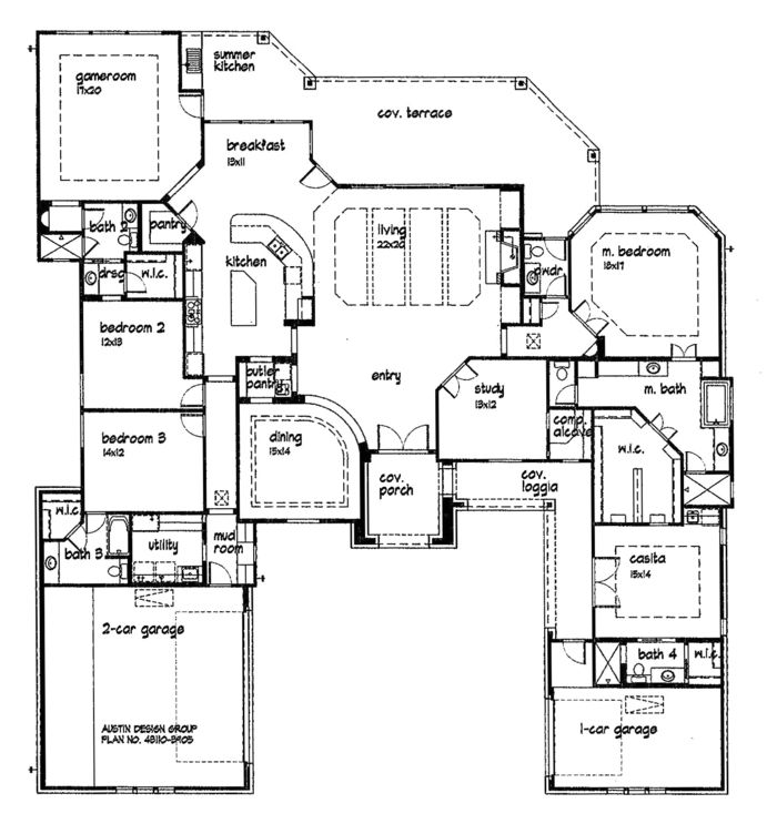 Unique open floor plans custom golf course homes floor for Unique one story house plans