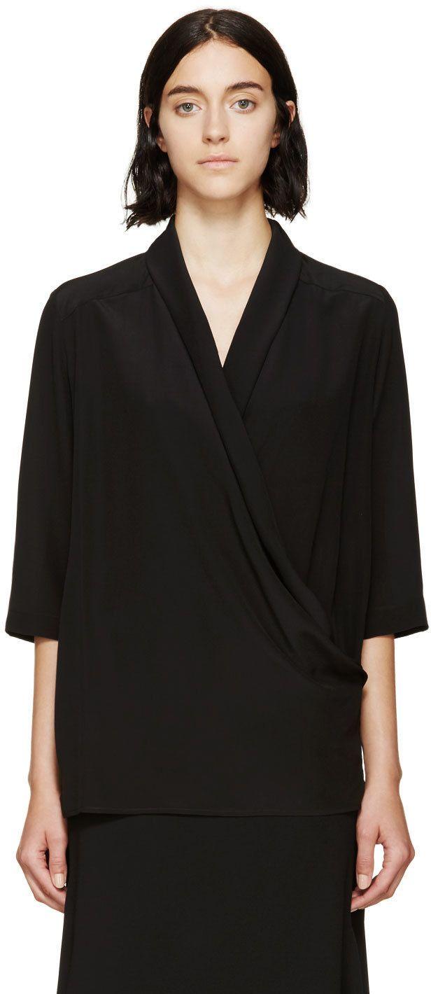 Black Silk Draped Wrap Blouse   Wrap blouse, Black silk and Stella ...