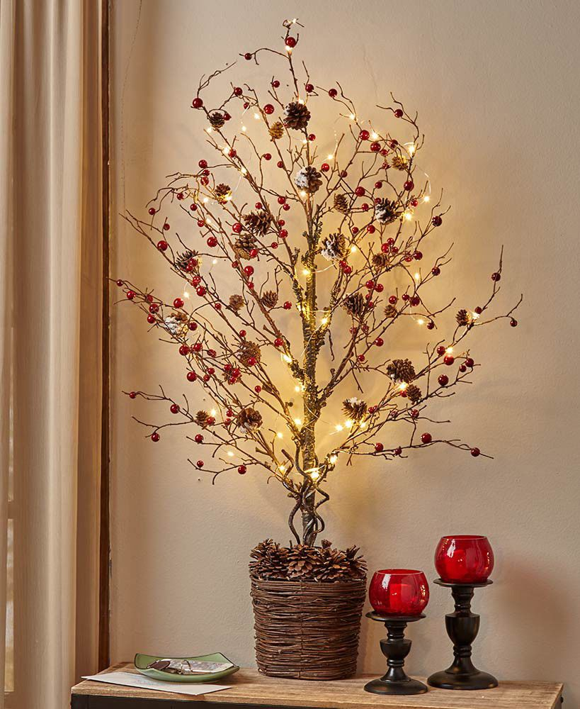 Country Berries 39 Lighted Half Tree Primitive Table Shelf Wall Art
