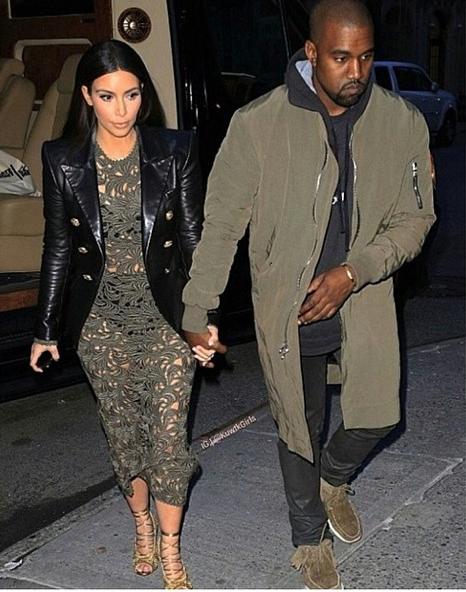 Kim Kardashian mit Kanye West auf dem Weg zu einem Abendessen