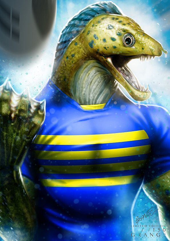 The Lethal Parramatta Eel Print By Grange Wallis Australian Rugby League Rugby League Rugby Logo