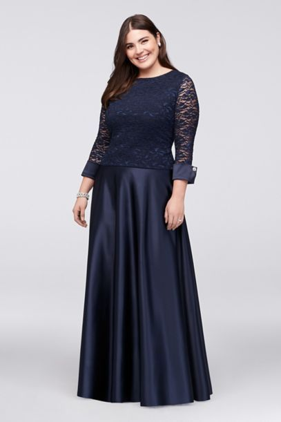 34 Sleeve Lace Satin Plus Size Two Piece Dress 949647 Dress