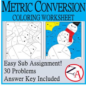 Metric System Practice Coloring Worksheet Snowman By Study Z To A Color Worksheets Metric System Worksheets