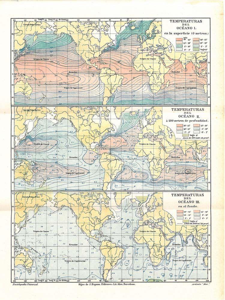 1920s vintage world map ocean temperatures sea vintage maps 1920s vintage world map ocean temperatures sea gumiabroncs Images