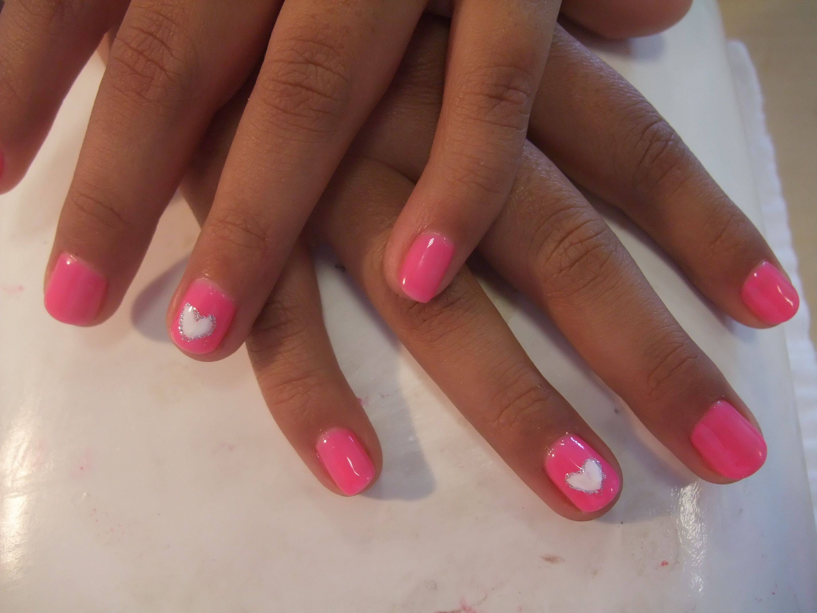 Heart design with gel manicure for kids ! heart, cute