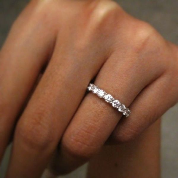 ring band bands thick diamond rings white front engagement set prong wedding gold