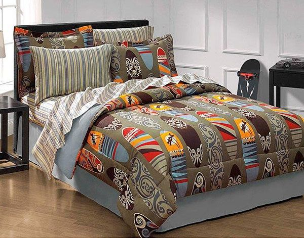 6pc Surfing Bedding Set Surfboards Comforter Twin Bed